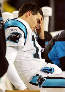 Panthers fans might have to get used to this look of Delhomme continues to be careless with the football.