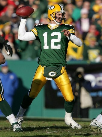 Sorry, Brett: Aaron Rodgers will get the last laugh in Green Bay.  Photo courtesy Jonathan Daniel/Getty Images.